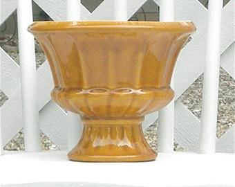 Golden Pedestal Ceramic Planter Vintage