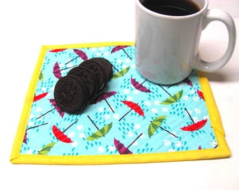 Mug Rug, Snack Mat, Mini Placemat, Rainy Days, Coffee Mat, Candle Rug, Quilted, Reversible, Ready to Ship