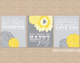 Sunshine Art Prints, You are my sunshine nursery prints , 3 Print Set, Custom match colors to your nursery or room // N-G03-3PS AA1