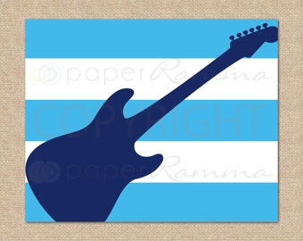 Guitar Nursery Art // Rock and Roll Nursery / Kids Room Giclée Art Print // Classic Rock Art // Music Nursery // N-X54-1PS AA1