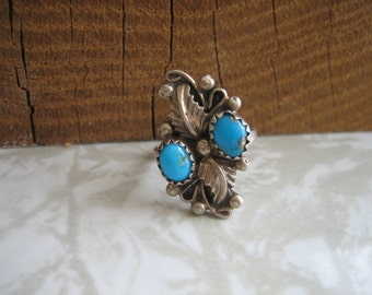 Vintage MANANA .925 Sterling Silver TURQUOISE FEATHERS Ring