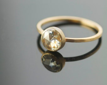 Engagement Ring Rose Cut 6mm Moissanite in Recycled 14k Yellow Gold Eco Friendly Metal