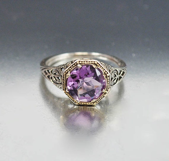 Vintage Sterling Silver Filigree Amethyst Ring Size By