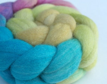 "Polwarth Silk Top / Roving -  2 oz braid handpainted colorway ""His High & Mighty Prince Tiddly-Push"" Gradient"