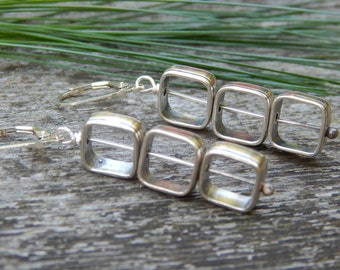 sterling silver 3 square kinetic earrings