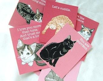 Cat Valentines - Mini Eco-friendly Set of 8
