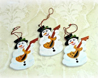 Holly Jolly Rock Guitar Playing Snowman Ornament