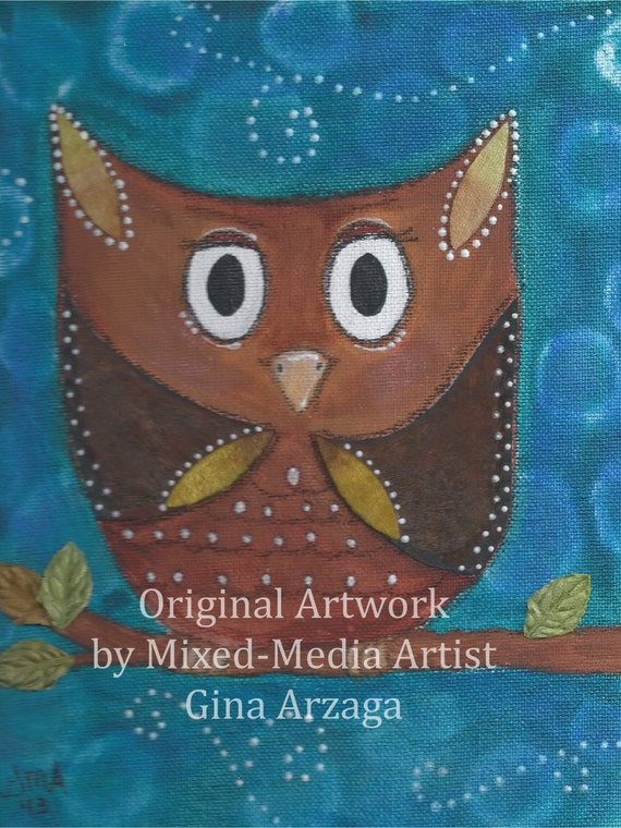 Mr. Owlie - Print of Original Painting by Gina Arzaga