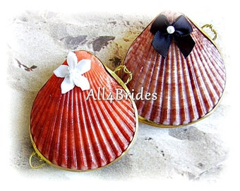 Beach Wedding Set Of Two Clam Seashell Ring Boxes For Bride and Groom Rings, Seashell Ring Box