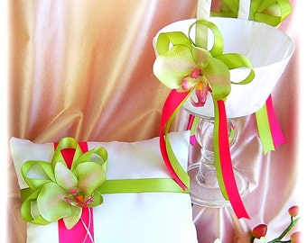 Wedding pillow and basket hot pink and green orchids wedding ring bearer pillow and flower girl basket ceremony decor