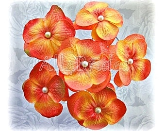 Orange and yellow hair flowers, bridal or bridesmaids hair pin, set of six hydrangea flowers.