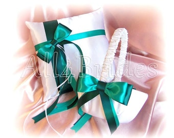 Jade and Teal weddings flower girl basket and ring bearer pillow, wedding ring cushion and basket set.