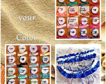 Beach Wedding Starfish Bridal Garter Set, choose your color, keepsake and toss garter bridal leg garter belt set