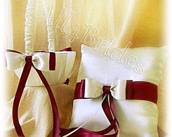Burgundy weddings ring bearer pillow and flower girl basket, satin pillow and basket set