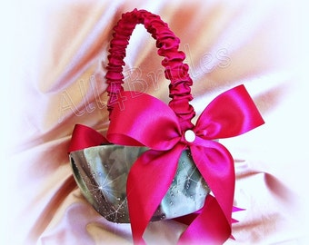 Wedding flower girl basket in Fuchsia Pink and Grey, sparkly weddings basket.