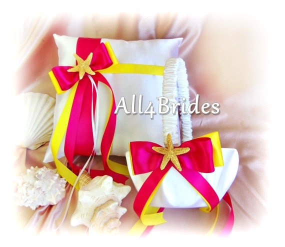 Starfish ring pillow and flower girl basket, yellow and fuchsia pink beach wedding ring cushion and basket set.
