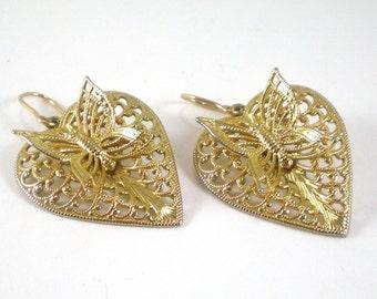 14 KGF Gold Earrings Filigree Heart Butterfly 3D Pierced Dangle Trending Vintage Valentine Jewelry