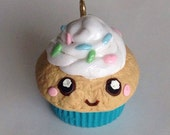 Cute Kawaii Polymer Clay Charm: Happy Cupcake with Sprinkles