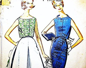 1960s Dress Pattern, Misses size 12, Womens Culottes Skirt, Wiggle Skirt, Sleeveless Top, Vintage Sewing Patternss