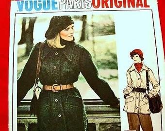 1970s Vogue Paris Original Pattern Designer EMANUEL UNGARO Womens Coat Pattern, Misses size 14 UNCUT Vintage Pattern 70s