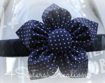 Back to School Uniform Fabric Flower - Navy with White Swiss Dots  with Headband options