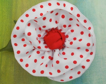 SUMMER FLOWER POWER White Red Polka Dot Ribbon Rose Pin....