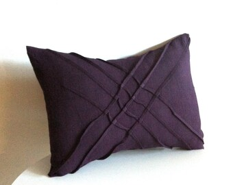 x pleat accent pillow - eggplant linen textured pillow cover