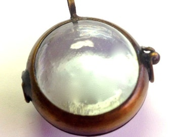 4 Glass Shadowbox Pendants, Globe Bubble hinged, vintage brass G2323