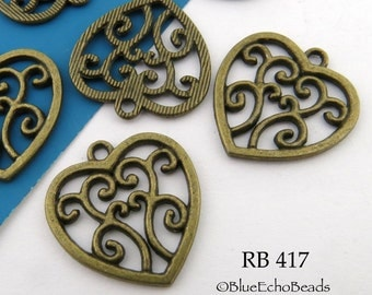 21mm Filigree Heart Charm Antique Brass Charm,  Antique Bronze (RB 417) 12 pcs BlueEchoBeads