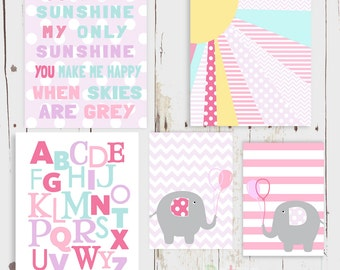 You are my Sunshine Elephant Alphabet Nursery Art  Print Set Baby Girl Room Decor