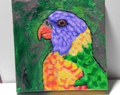 parakeet art / budgie art / Lorakeet painting / Parrot artwork / purple and green bird / miniature acrylic / 3inch square /  SFA / MP115
