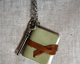 Leather Book Necklace-Choose your own color!
