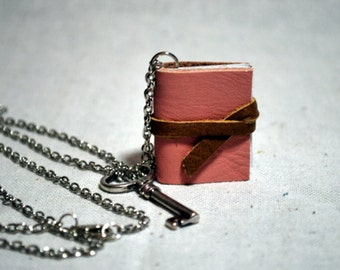 Pink Leather Book Necklace