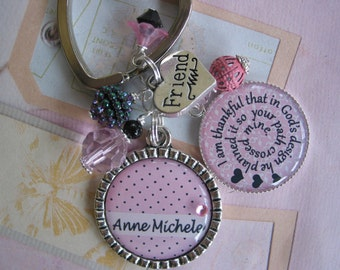 Personalized Friendship Keychain in pink