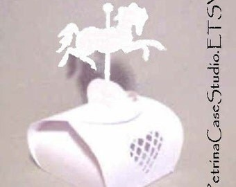"Horse Printable Digital PaTTERN favor BOX Carousel Horse 3""H x 1-3/4""W  Make as many as you like - item 8054s-pattern"
