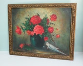 Red Roses Still Life Oil Painting with a Parakeet, Signed Hampton 1959