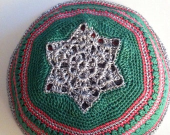 Dark green, pink & silver hand crocheted kipot