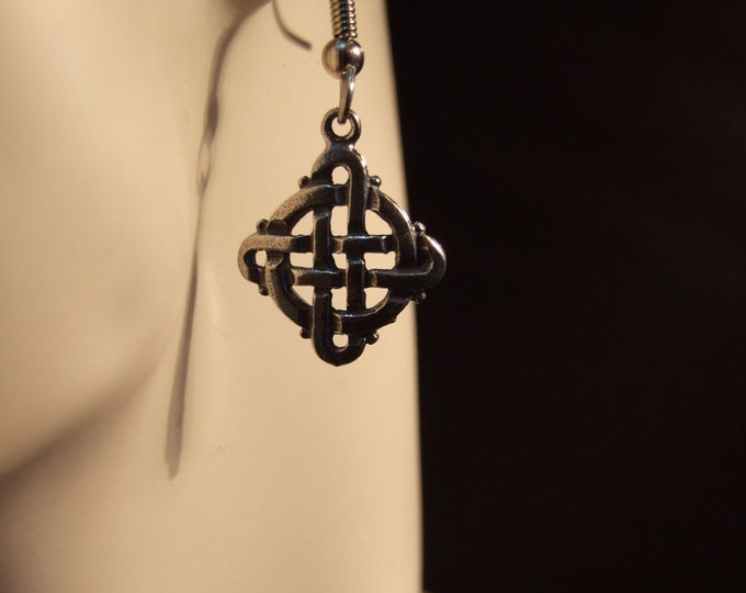 Celtic Square and circle knot earrings made with Australian Pewter and Surgical Steel hook