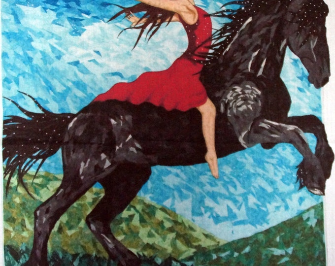 Fabric panel.  Friesian horse jumping with girl. Original quilt by Cindy Watkins