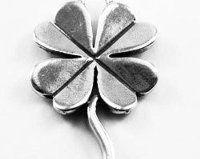 Four Leaf Clover, 1 bail, necklace charm, Australian Pewter L27