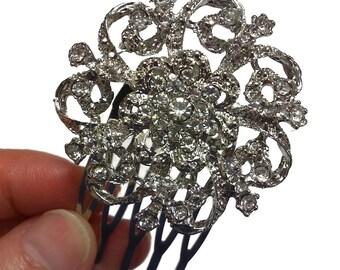 Crystal Bridal Hair Comb, Flower Hair Jewelry, Rhînestone Headpiece, LUX