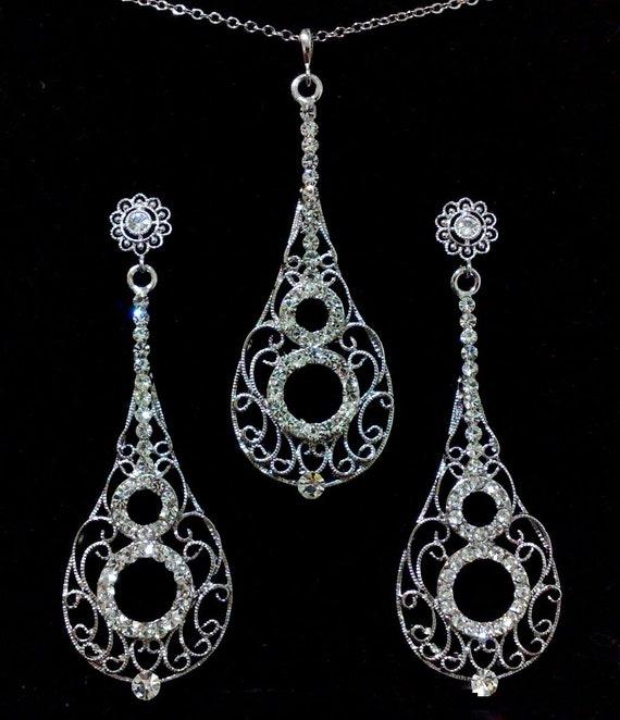Infinity Bridal Jewelry Set, Vintage Wedding Earrings, Long Dangle Bridal Earrings, Swarovski Crystal Bridal Necklace, Wedding Jewelry CELLO