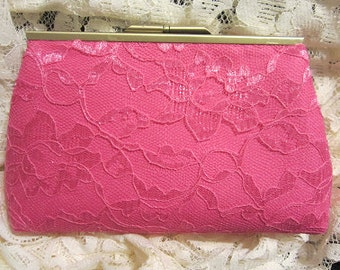 Vintage Lace Clutch in Pink