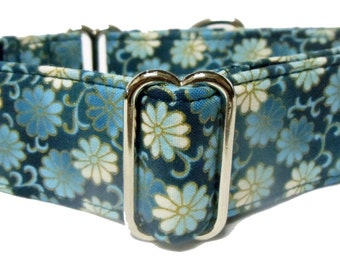 Asian Delight Torquoise White Gold Floral Greyhound, Whippet, Galga, Sighthound Martingale Collar