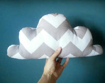 white and grey chevron cloud pillow  nusery decor child's pillow ON SALE