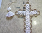 Cross Bookmark Tatted Ecru and Tan Lace Tatting