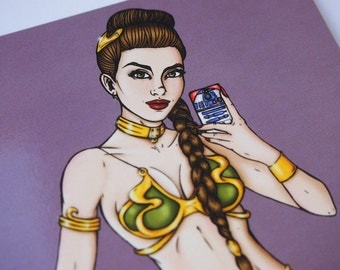 Selfie Princess Slave Leia Star Wars Postcard