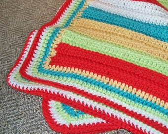 SALE - 10% OFF! Crocheted Cotton Baby Blanket or Lap Blanket, Bright Circus Stripes, Crib Blanket, Made in America