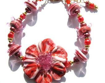 sale 25 off fantastic coral pink lampwork flower bracelet pearls 14k gold
