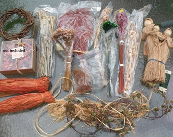 Dried flowers, supplies lot destash, papermaking raffia wheat red green autumn berries wire, straw Christmas angels vintage sale